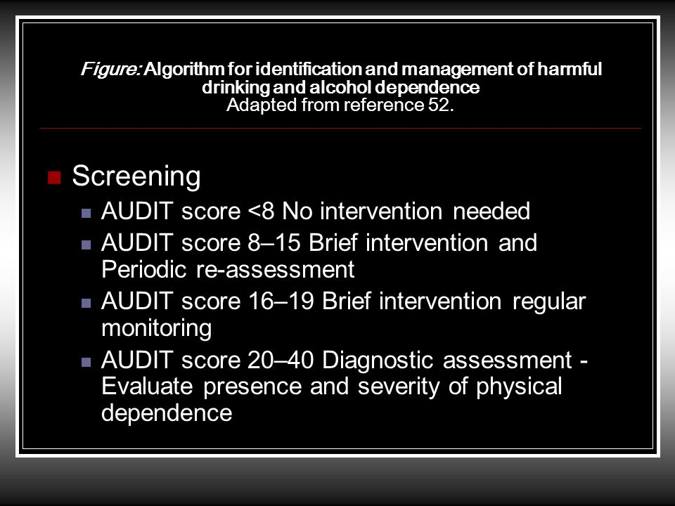 Figure: Algorithm for identification and management of harmful drinking and alcohol dependence Adapted from reference 52. Screening AUDIT score <8 No