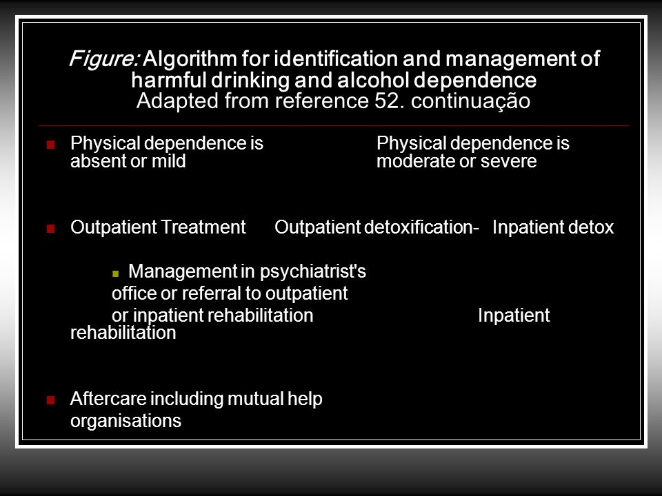 Figure: Algorithm for identification and management of harmful drinking and alcohol dependence Adapted from reference 52. continuação Physical depende