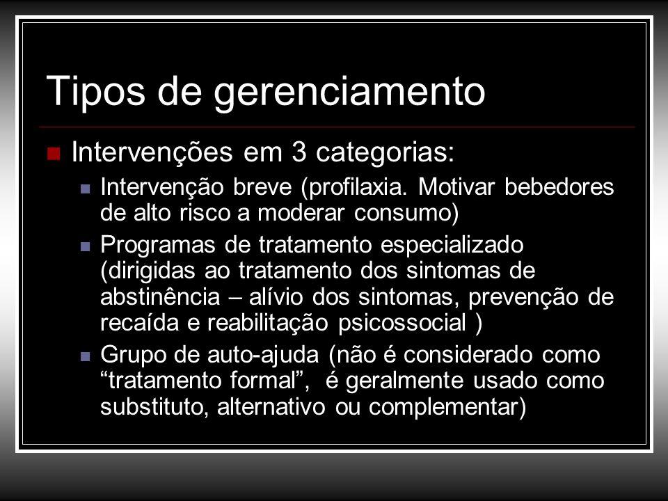 Tipos de gerenciamento Intervenções em 3 categorias: Intervenção breve (profilaxia. Motivar bebedores de alto risco a moderar consumo) Programas de tr