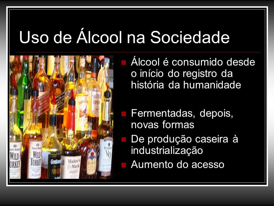 Uso de Álcool na Sociedade Álcool é consumido desde o início do registro da história da humanidade Fermentadas, depois, novas formas De produção casei