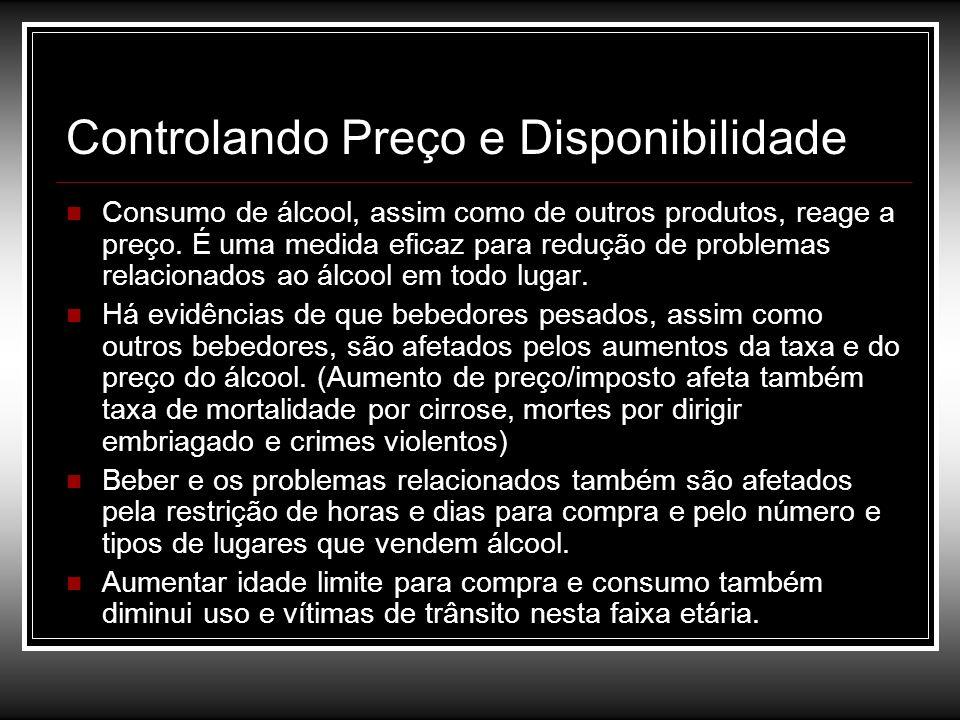 Controlando Preço e Disponibilidade Consumo de álcool, assim como de outros produtos, reage a preço. É uma medida eficaz para redução de problemas rel