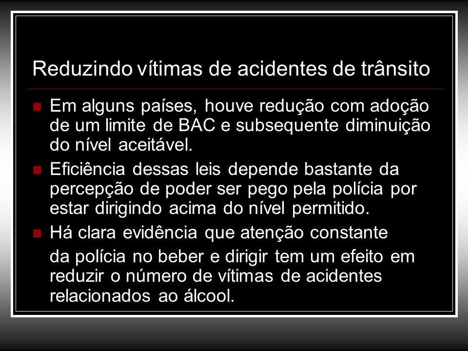 Reduzindo vítimas de acidentes de trânsito Em alguns países, houve redução com adoção de um limite de BAC e subsequente diminuição do nível aceitável.
