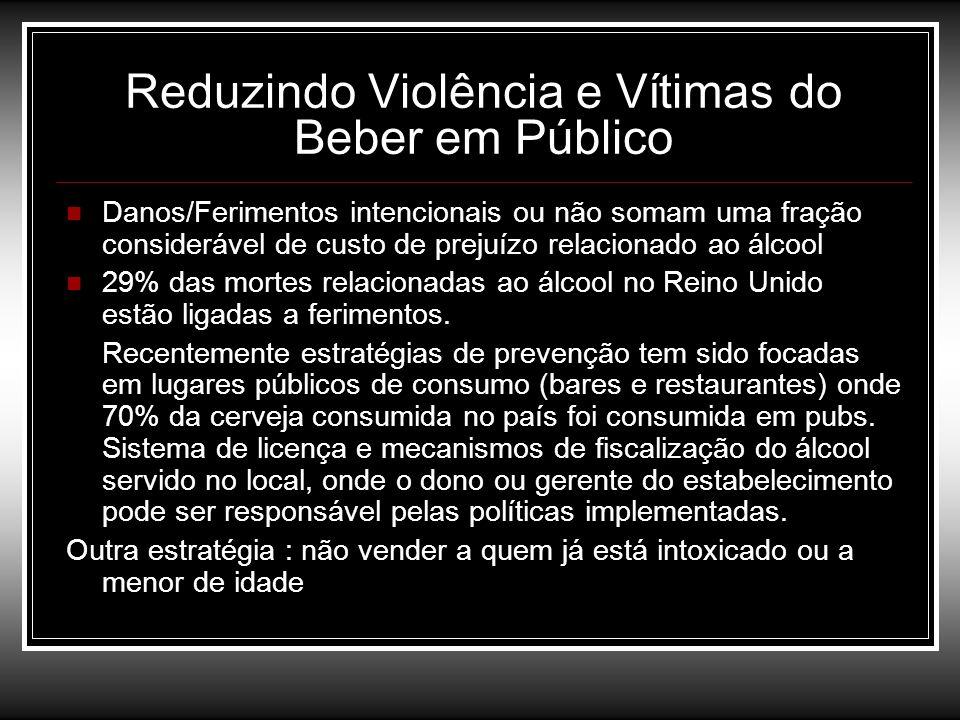 Reduzindo Violência e Vítimas do Beber em Público Danos/Ferimentos intencionais ou não somam uma fração considerável de custo de prejuízo relacionado