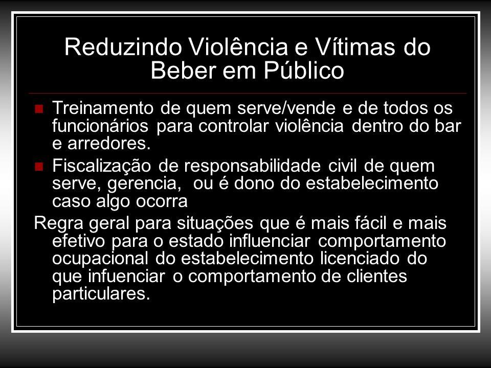 Reduzindo Violência e Vítimas do Beber em Público Treinamento de quem serve/vende e de todos os funcionários para controlar violência dentro do bar e