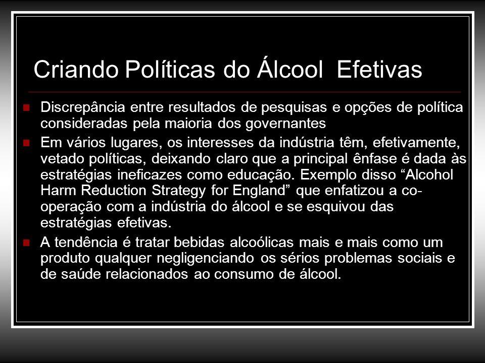 Criando Políticas do Álcool Efetivas Discrepância entre resultados de pesquisas e opções de política consideradas pela maioria dos governantes Em vári