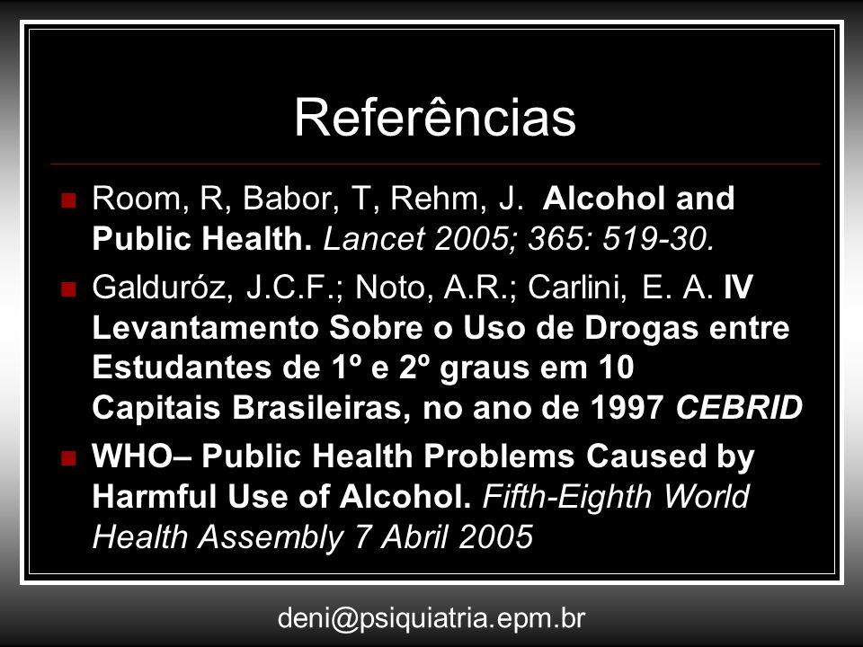 Referências Room, R, Babor, T, Rehm, J. Alcohol and Public Health. Lancet 2005; 365: 519-30. Galduróz, J.C.F.; Noto, A.R.; Carlini, E. A. IV Levantame