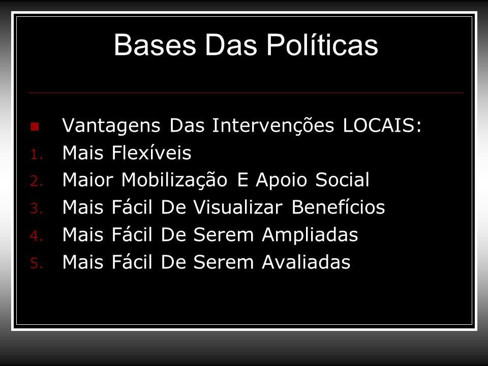 Bases Das Políticas Vantagens Das Intervenções LOCAIS: 1. Mais Flexíveis 2. Maior Mobilização E Apoio Social 3. Mais Fácil De Visualizar Benefícios 4.
