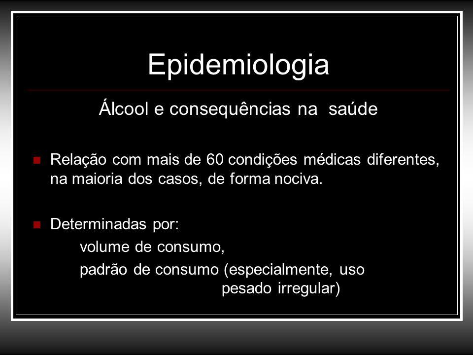 Epidemiologia Álcool e consequências na saúde Relação com mais de 60 condições médicas diferentes, na maioria dos casos, de forma nociva. Determinadas