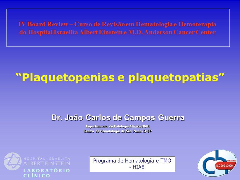 Plaquetopenias e plaquetopatias Dr. João Carlos de Campos Guerra Departamento de Patologia Clínica-HIAE Centro de Hematologia de São Paulo-CHSP IV Boa
