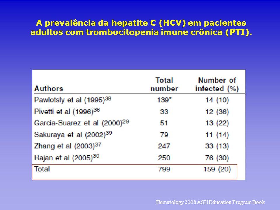 A prevalência da hepatite C (HCV) em pacientes adultos com trombocitopenia imune crônica (PTI). Hematology 2008 ASH Education Program Book