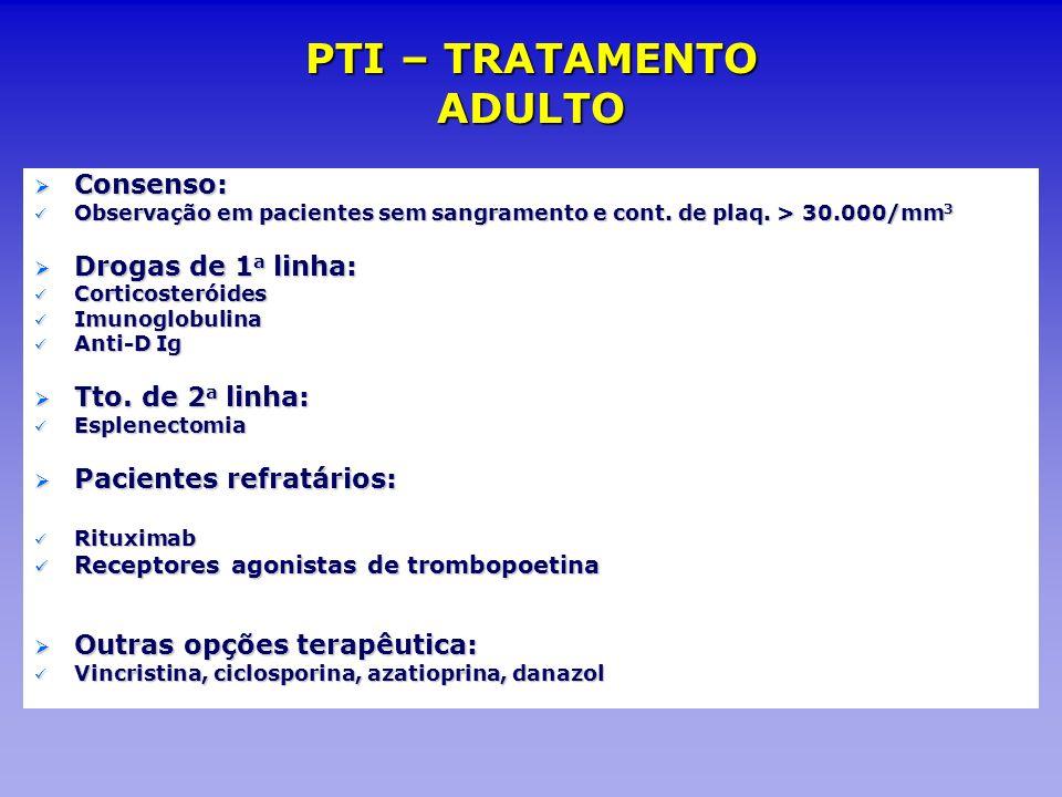 Consenso: Consenso: Observação em pacientes sem sangramento e cont. de plaq. > 30.000/mm 3 Observação em pacientes sem sangramento e cont. de plaq. >