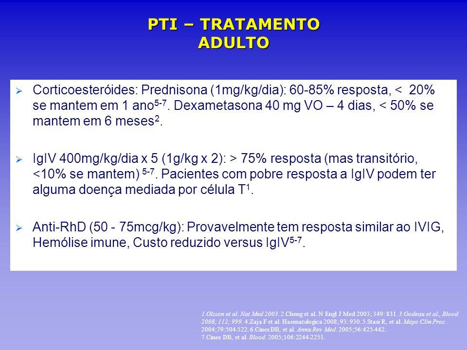 Corticoesteróides: Prednisona (1mg/kg/dia): 60-85% resposta, < 20% se mantem em 1 ano 5-7. Dexametasona 40 mg VO – 4 dias, < 50% se mantem em 6 meses