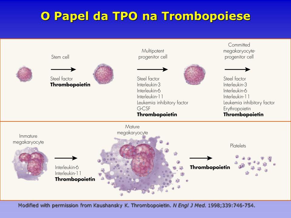 O Papel da TPO na Trombopoiese Modified with permission from Kaushansky K. Thrombopoietin. N Engl J Med. 1998;339:746-754.
