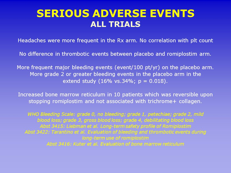 SERIOUS ADVERSE EVENTS ALL TRIALS Headaches were more frequent in the Rx arm. No correlation with plt count No difference in thrombotic events between