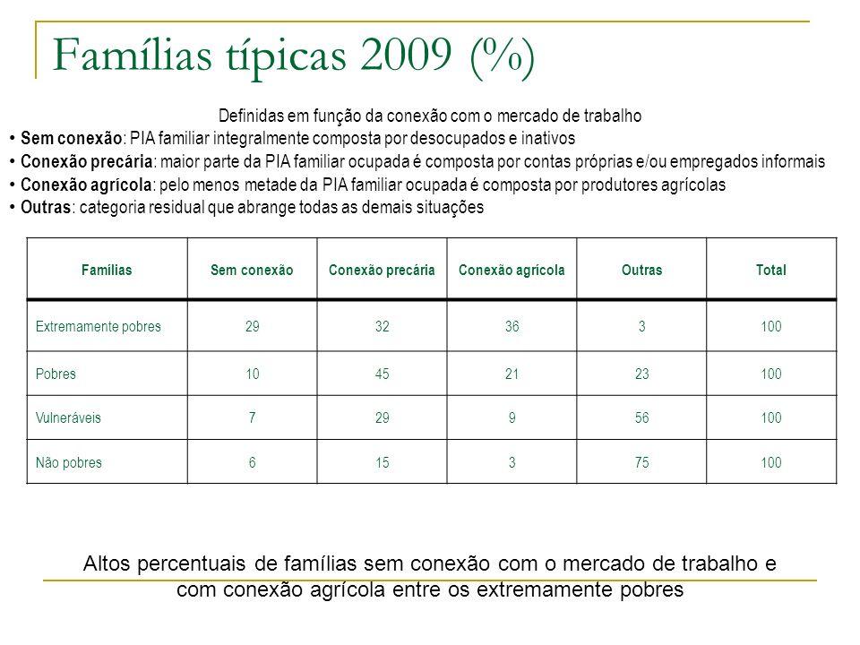 Famílias típicas 2009 (%) FamíliasSem conexãoConexão precáriaConexão agrícolaOutrasTotal Extremamente pobres2932363100 Pobres10452123100 Vulneráveis72