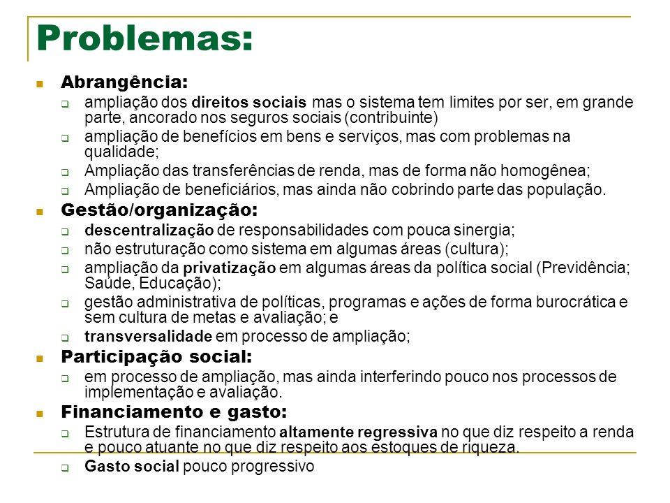Problemas: Abrangência: ampliação dos direitos sociais mas o sistema tem limites por ser, em grande parte, ancorado nos seguros sociais (contribuinte)
