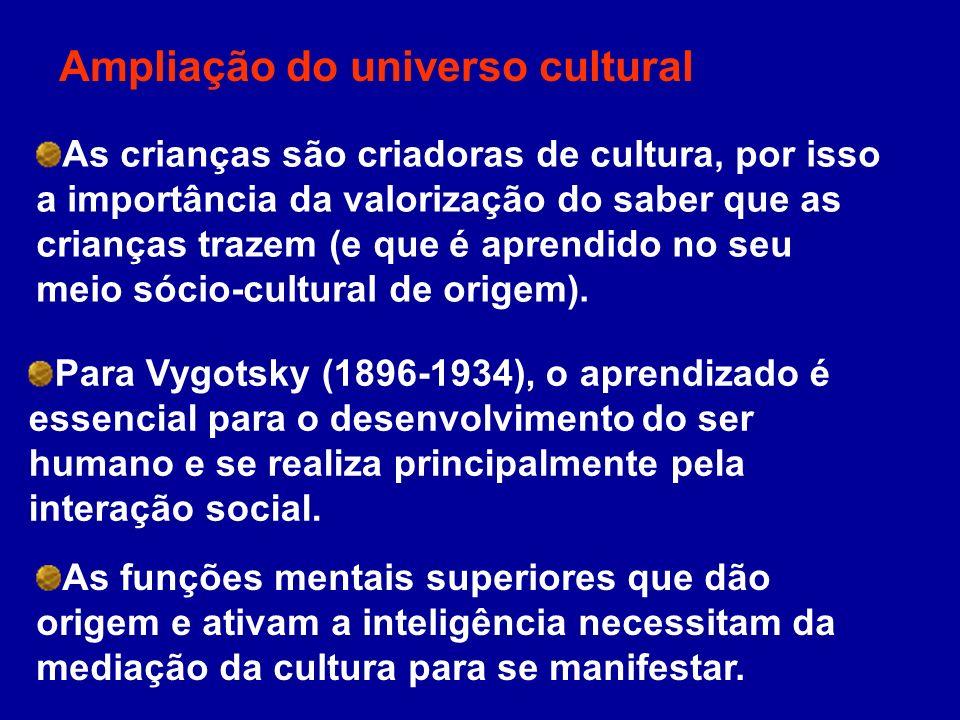 Ampliação do universo cultural As crianças são criadoras de cultura, por isso a importância da valorização do saber que as crianças trazem (e que é ap