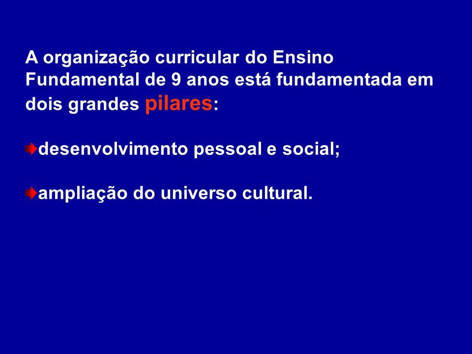 A organização curricular do Ensino Fundamental de 9 anos está fundamentada em dois grandes pilares : desenvolvimento pessoal e social; ampliação do un