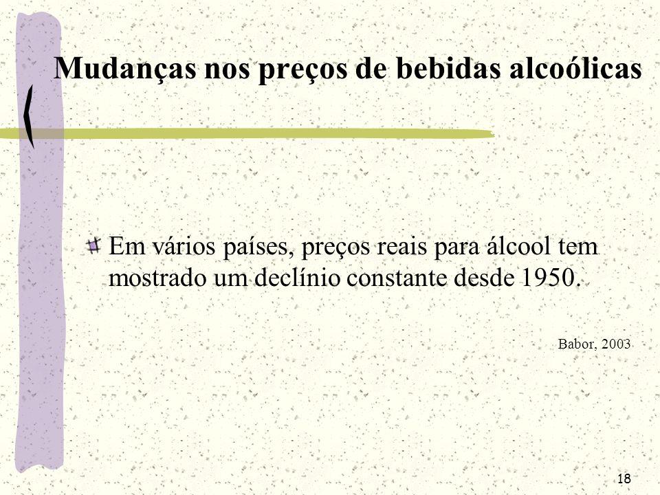 18 Mudanças nos preços de bebidas alcoólicas Em vários países, preços reais para álcool tem mostrado um declínio constante desde 1950. Babor, 2003