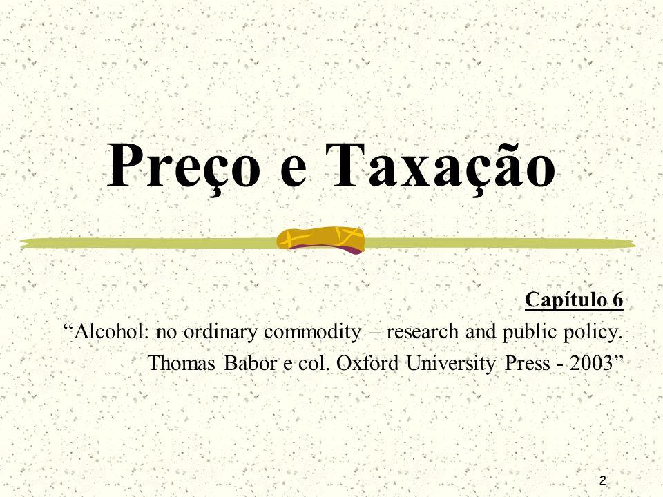 2 Preço e Taxação Capítulo 6 Alcohol: no ordinary commodity – research and public policy. Thomas Babor e col. Oxford University Press - 2003