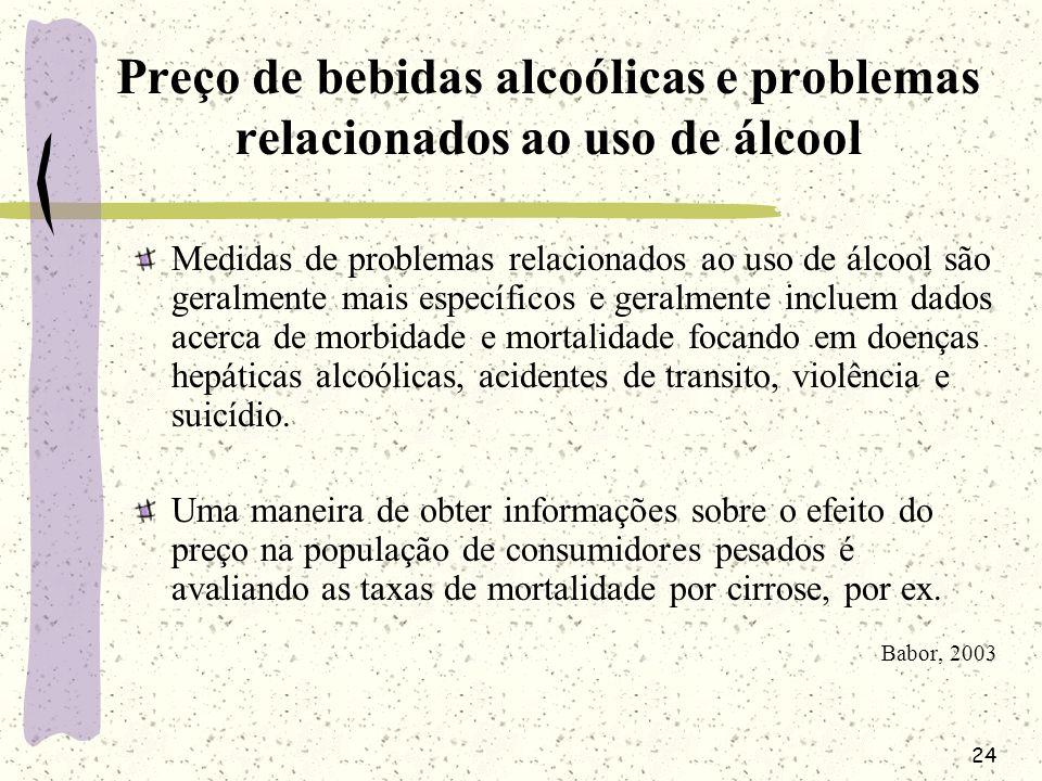 24 Preço de bebidas alcoólicas e problemas relacionados ao uso de álcool Medidas de problemas relacionados ao uso de álcool são geralmente mais especí