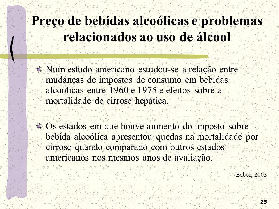 25 Preço de bebidas alcoólicas e problemas relacionados ao uso de álcool Num estudo americano estudou-se a relação entre mudanças de impostos de consu