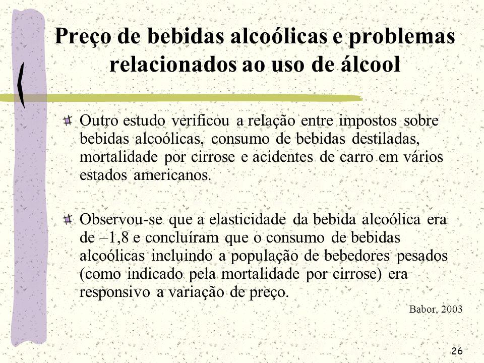 26 Preço de bebidas alcoólicas e problemas relacionados ao uso de álcool Outro estudo verificou a relação entre impostos sobre bebidas alcoólicas, con