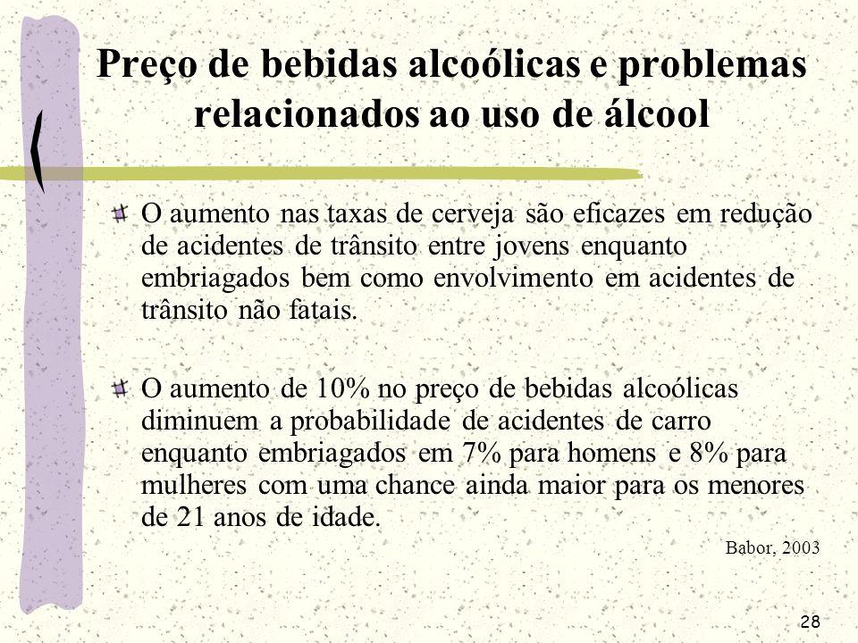 28 Preço de bebidas alcoólicas e problemas relacionados ao uso de álcool O aumento nas taxas de cerveja são eficazes em redução de acidentes de trânsi