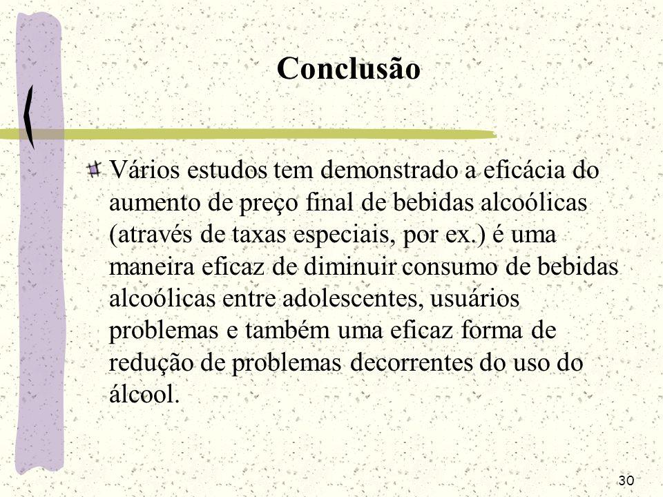 30 Conclusão Vários estudos tem demonstrado a eficácia do aumento de preço final de bebidas alcoólicas (através de taxas especiais, por ex.) é uma man