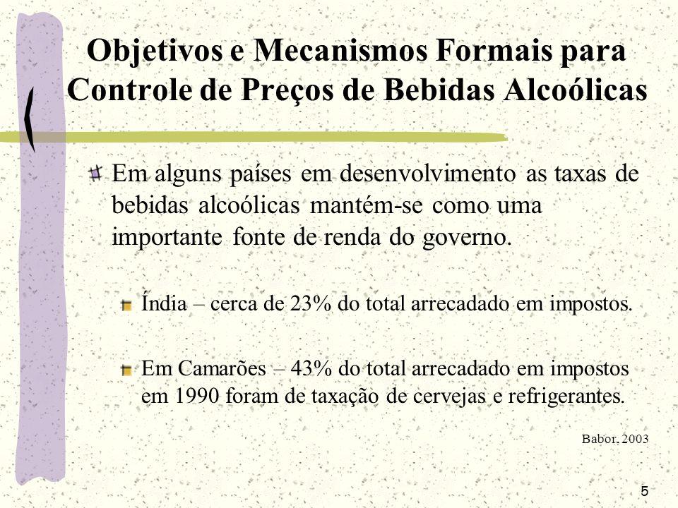 26 Preço de bebidas alcoólicas e problemas relacionados ao uso de álcool Outro estudo verificou a relação entre impostos sobre bebidas alcoólicas, consumo de bebidas destiladas, mortalidade por cirrose e acidentes de carro em vários estados americanos.