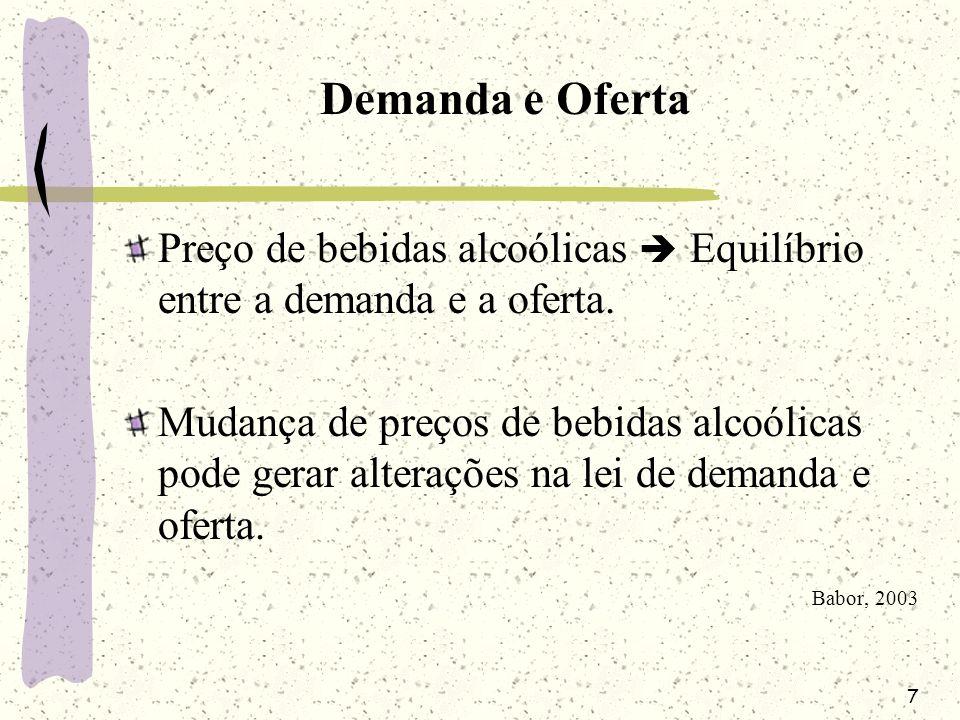 7 Demanda e Oferta Preço de bebidas alcoólicas Equilíbrio entre a demanda e a oferta. Mudança de preços de bebidas alcoólicas pode gerar alterações na