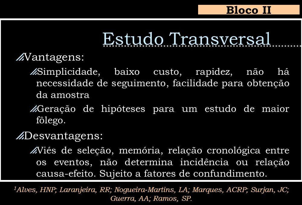 Estudo Transversal Bloco II 1 Alves, HNP; Laranjeira, RR; Nogueira-Martins, LA; Marques, ACRP; Surjan, JC; Guerra, AA; Ramos, SP. Vantagens: Simplicid