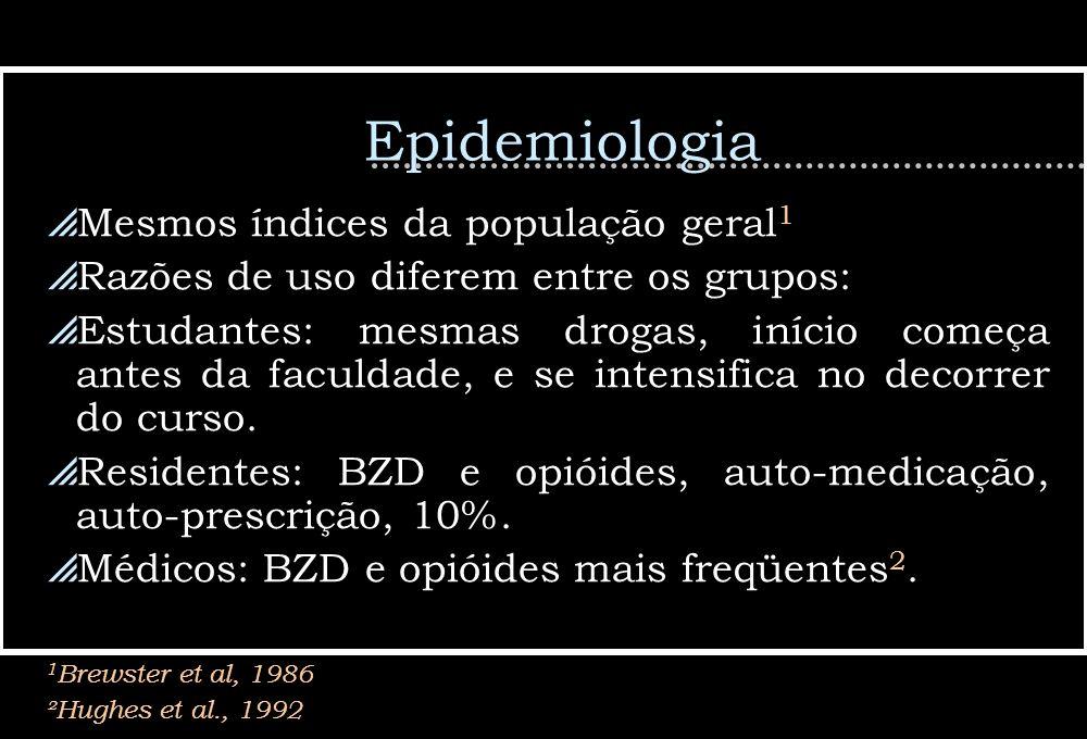 Epidemiologia Mesmos índices da população geral 1 Razões de uso diferem entre os grupos: Estudantes: mesmas drogas, início começa antes da faculdade,