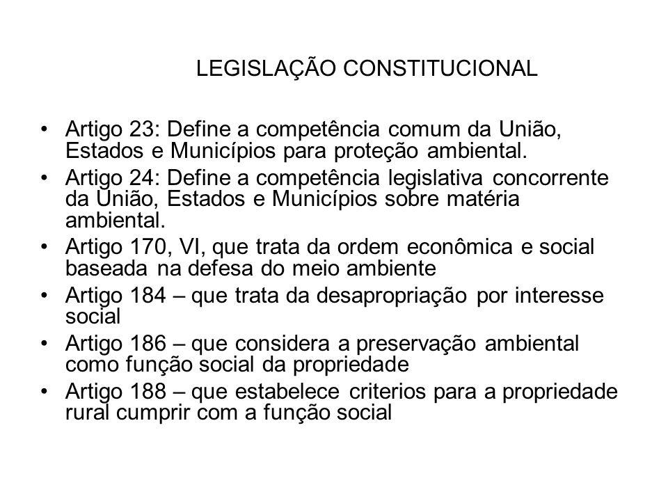 LEGISLAÇÃO CONSTITUCIONAL Artigo 23: Define a competência comum da União, Estados e Municípios para proteção ambiental. Artigo 24: Define a competênci
