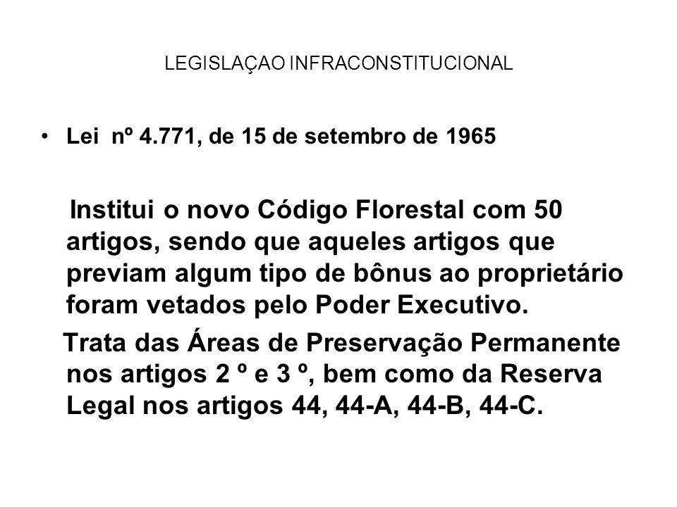 LEGISLAÇAO INFRACONSTITUCIONAL Lei nº 4.771, de 15 de setembro de 1965 Institui o novo Código Florestal com 50 artigos, sendo que aqueles artigos que