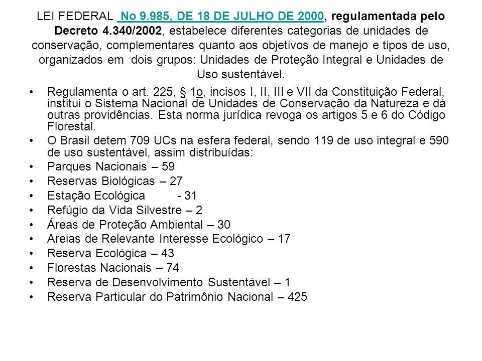 LEI FEDERAL No 9.985, DE 18 DE JULHO DE 2000, regulamentada pelo Decreto 4.340/2002, estabelece diferentes categorias de unidades de conservação, comp