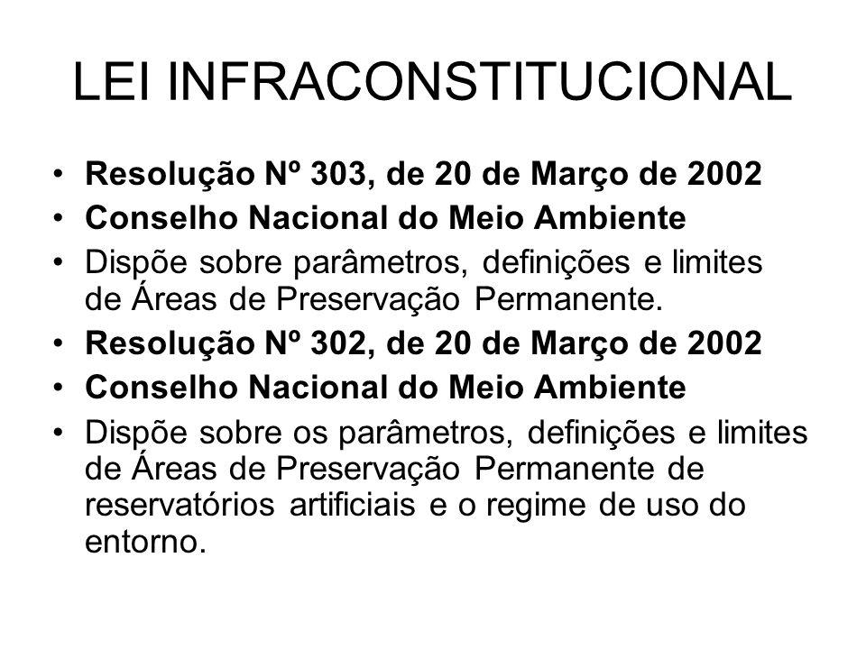 LEI INFRACONSTITUCIONAL Resolução Nº 303, de 20 de Março de 2002 Conselho Nacional do Meio Ambiente Dispõe sobre parâmetros, definições e limites de Á