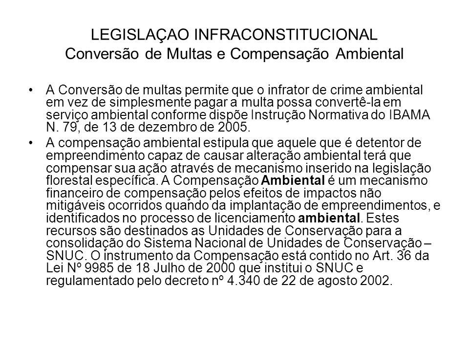 LEGISLAÇAO INFRACONSTITUCIONAL Conversão de Multas e Compensação Ambiental A Conversão de multas permite que o infrator de crime ambiental em vez de s