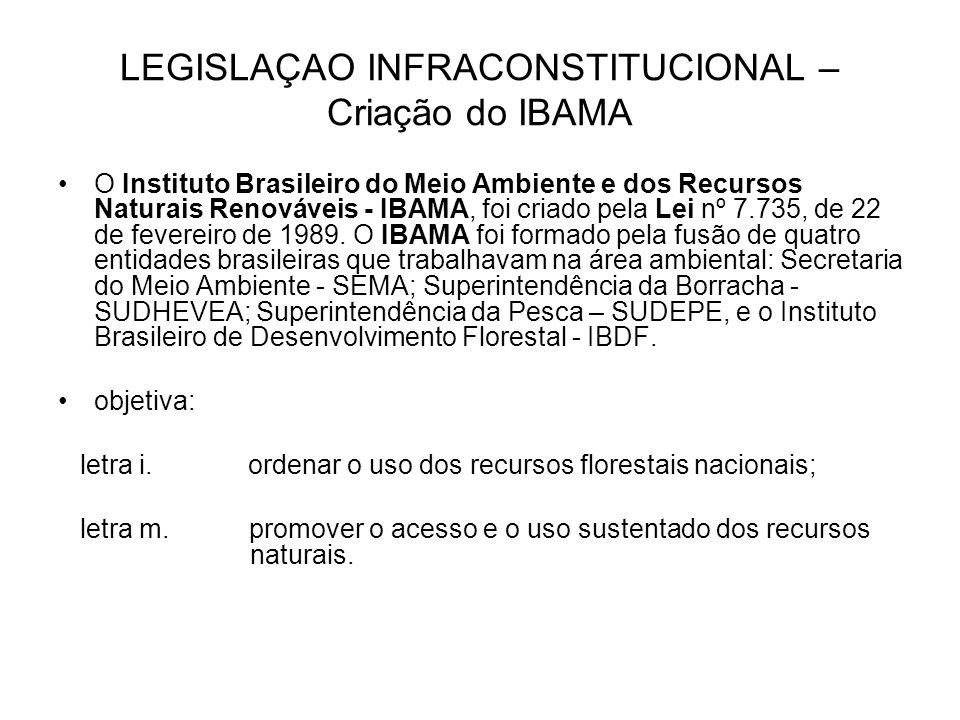 LEGISLAÇAO INFRACONSTITUCIONAL – Criação do IBAMA O Instituto Brasileiro do Meio Ambiente e dos Recursos Naturais Renováveis - IBAMA, foi criado pela