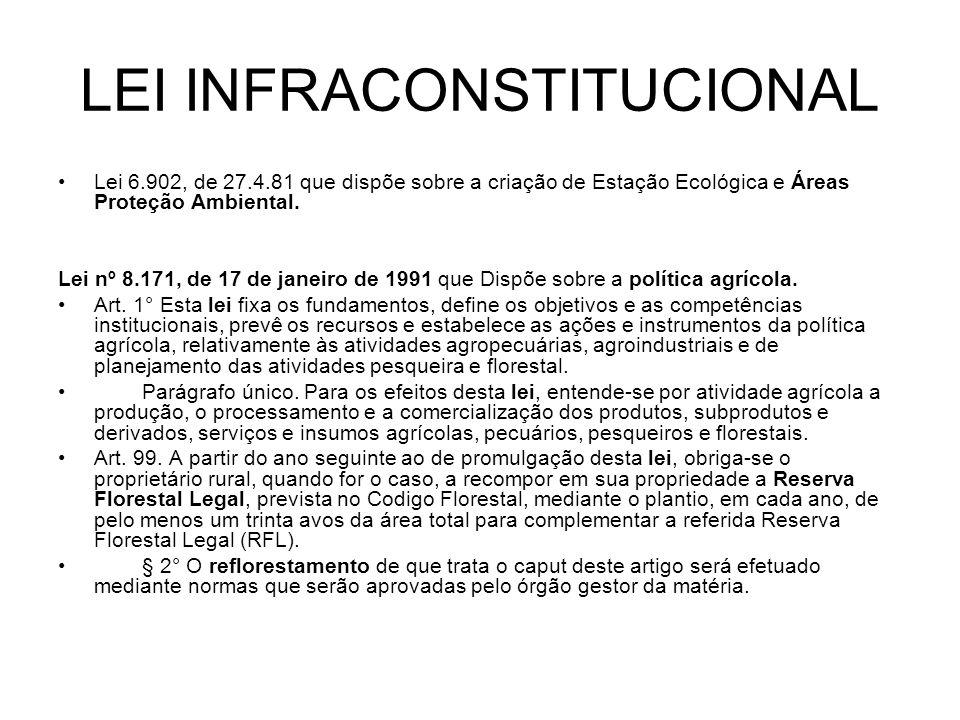 LEI INFRACONSTITUCIONAL Lei 6.902, de 27.4.81 que dispõe sobre a criação de Estação Ecológica e Áreas Proteção Ambiental. Lei nº 8.171, de 17 de janei