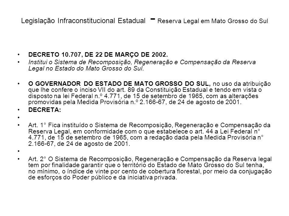 Legislação Infraconstitucional Estadual - Reserva Legal em Mato Grosso do Sul DECRETO 10.707, DE 22 DE MARÇO DE 2002. Institui o Sistema de Recomposiç
