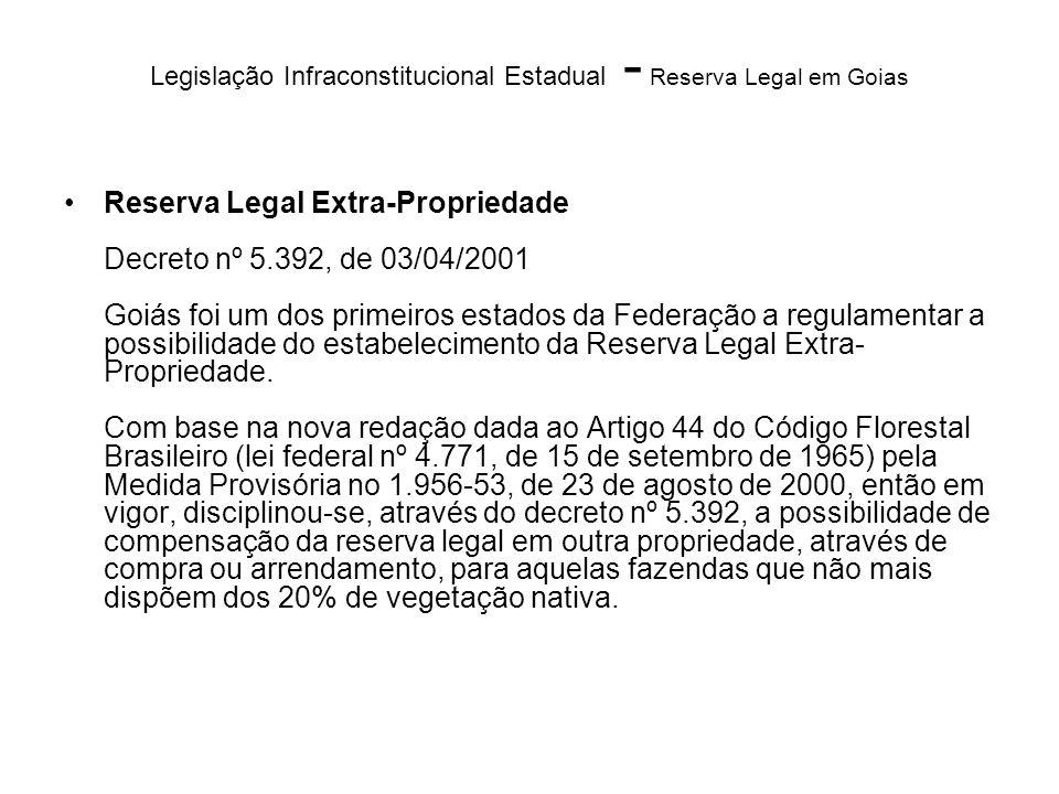 Legislação Infraconstitucional Estadual - Reserva Legal em Goias Reserva Legal Extra-Propriedade Decreto nº 5.392, de 03/04/2001 Goiás foi um dos prim