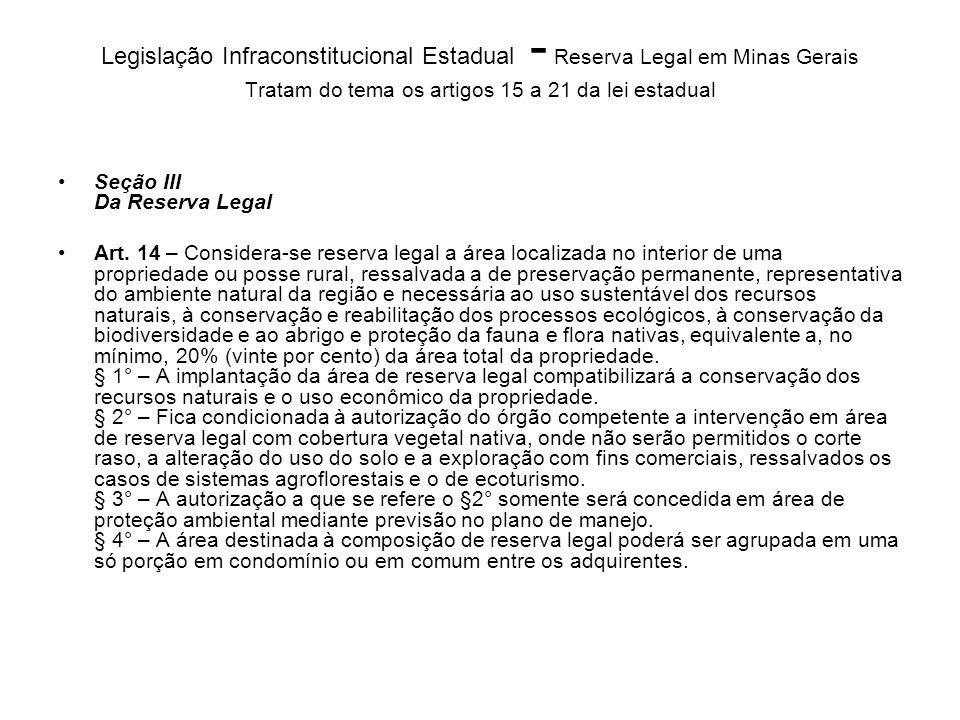 Legislação Infraconstitucional Estadual - Reserva Legal em Minas Gerais Tratam do tema os artigos 15 a 21 da lei estadual Seção III Da Reserva Legal A