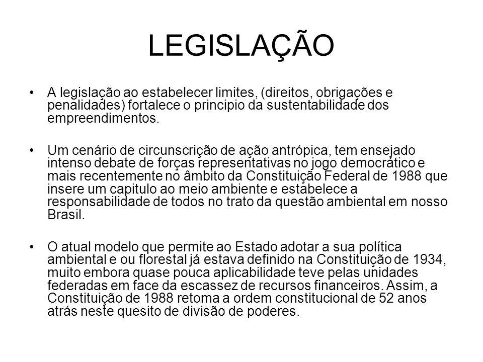 LEGISLAÇÃO A legislação ao estabelecer limites, (direitos, obrigações e penalidades) fortalece o principio da sustentabilidade dos empreendimentos. Um