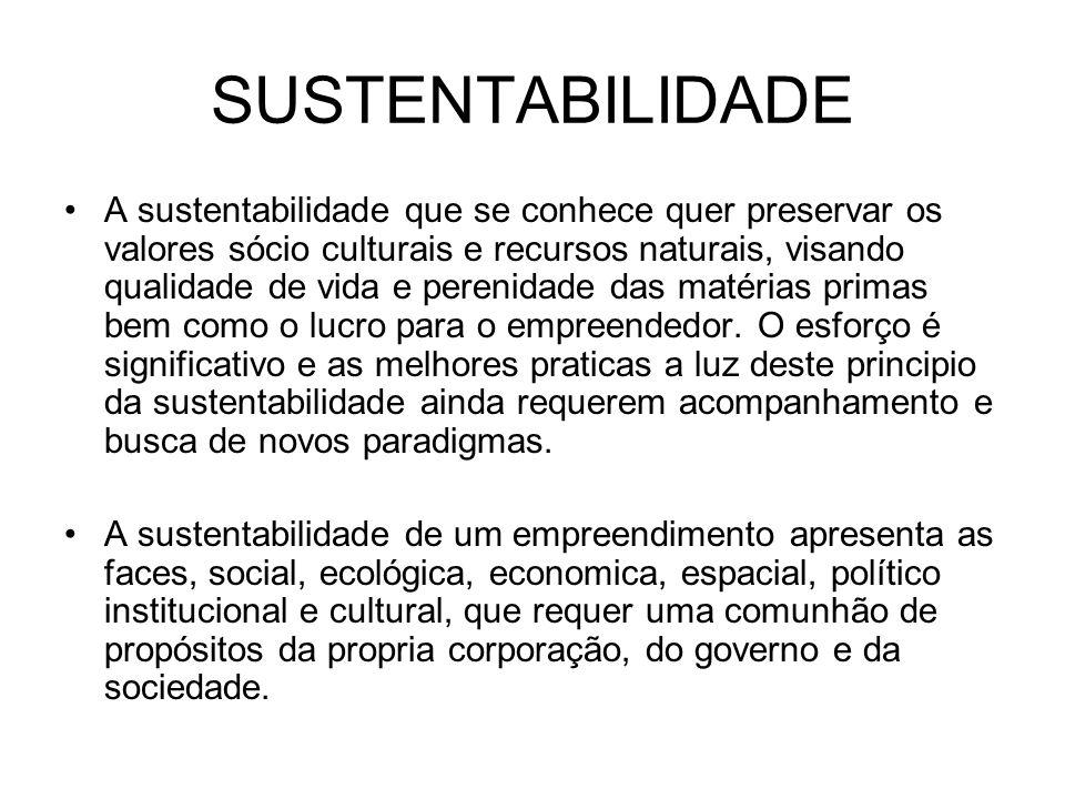 SUSTENTABILIDADE A sustentabilidade que se conhece quer preservar os valores sócio culturais e recursos naturais, visando qualidade de vida e perenida