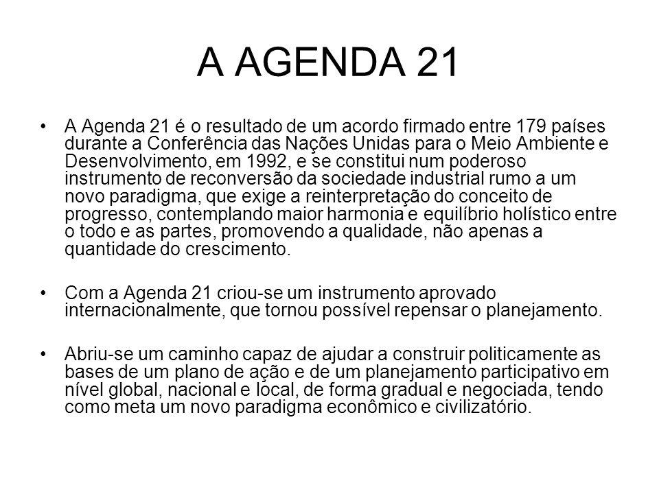 A AGENDA 21 A Agenda 21 é o resultado de um acordo firmado entre 179 países durante a Conferência das Nações Unidas para o Meio Ambiente e Desenvolvim