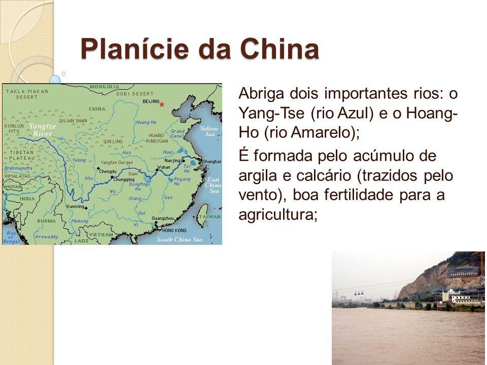 Planície da China Abriga dois importantes rios: o Yang-Tse (rio Azul) e o Hoang- Ho (rio Amarelo); É formada pelo acúmulo de argila e calcário (trazid