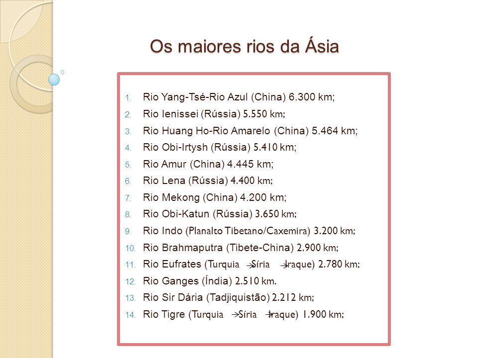 Os maiores rios da Ásia 1. Rio Yang-Tsé-Rio Azul (China) 6.300 km; 2. Rio Ienissei (Rússia) 5.550 km; 3. Rio Huang Ho-Rio Amarelo (China) 5.464 km; 4.