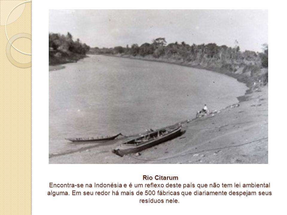 Rio Citarum Encontra-se na Indonésia e é um reflexo deste país que não tem lei ambiental alguma. Em seu redor há mais de 500 fábricas que diariamente