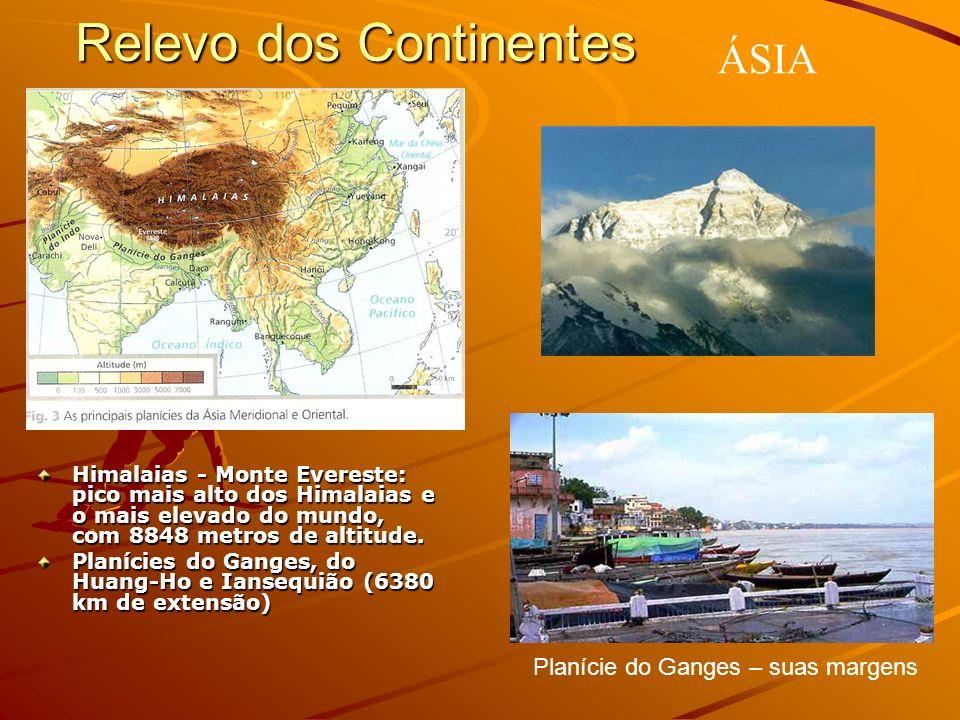 Relevo dos Continentes Himalaias - Monte Evereste: pico mais alto dos Himalaias e o mais elevado do mundo, com 8848 metros de altitude. Planícies do G